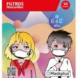 FILTROS MASCARILLAS MASKPLUS 6-12AÑOS 50 U